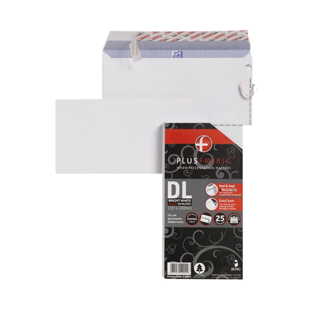 Plus Fabric DL Wallet Envelope P/Seal 110gsm White (Pack of 25) R10004
