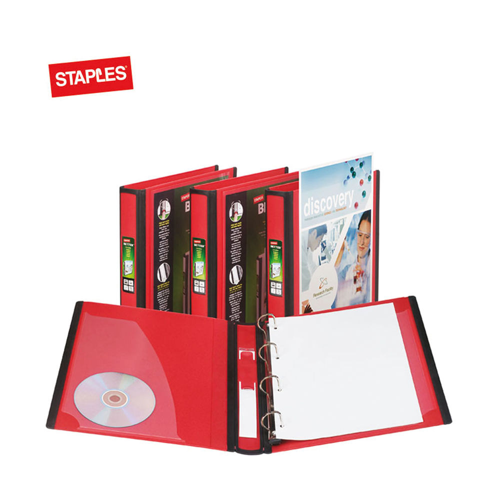 Staples Better 4 Ring Binder A4 40mm Red 275 Sheets 8850930