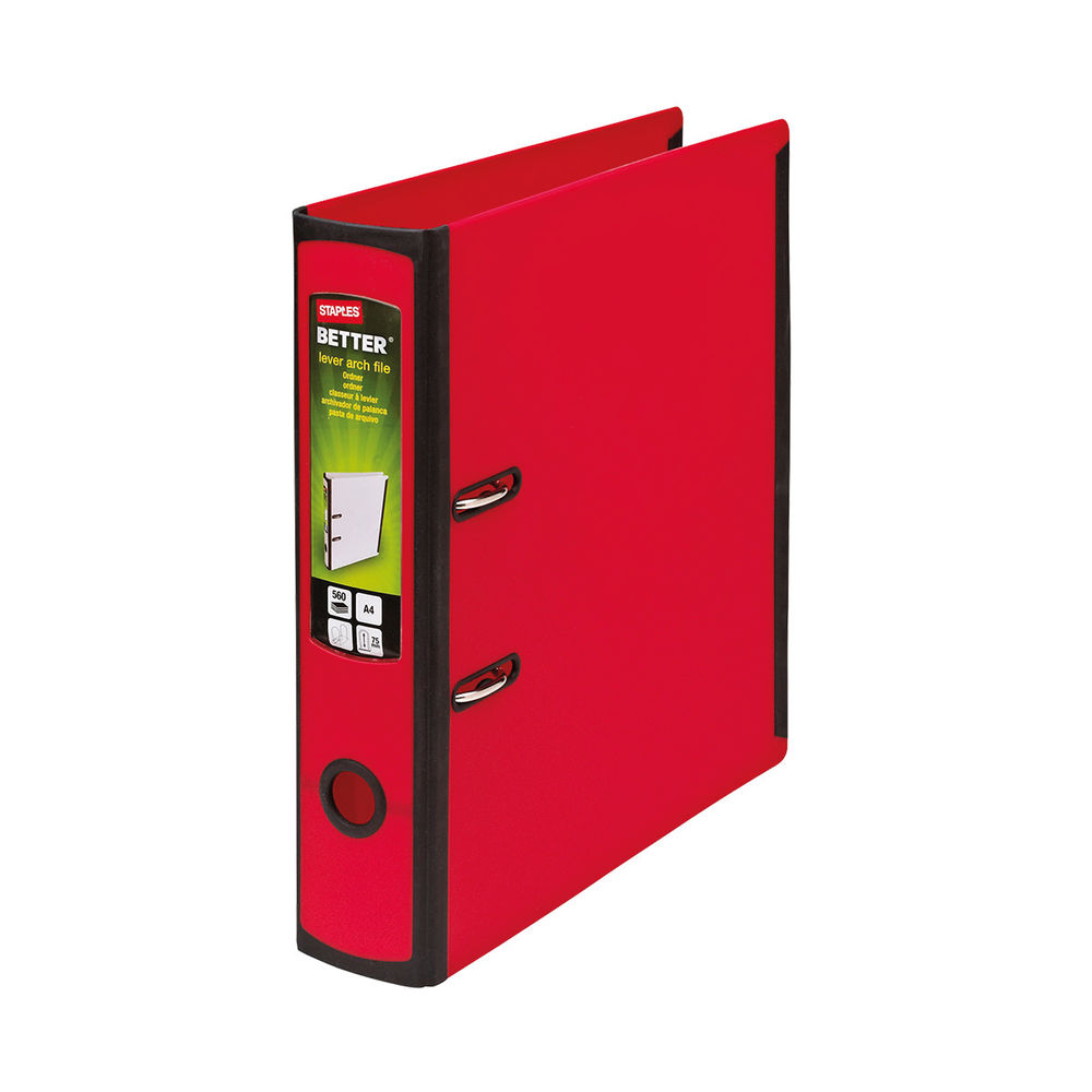 Staples Better Lever Arch File A4 75mm 2 Ring 316x291mm Capacity 560 Sheets Red