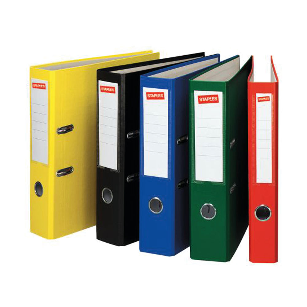 Staples Premium 80mm A4 Lever Arch File Yellow 22349STAP