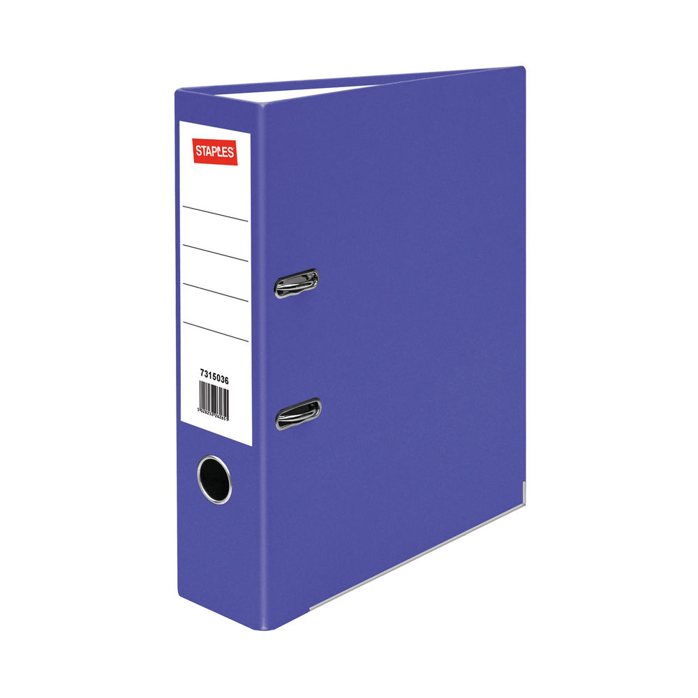 Staples Lever Arch File A4 80mm 2 Ring Polypropylene Metal Bound Edges Purple 26747STAP
