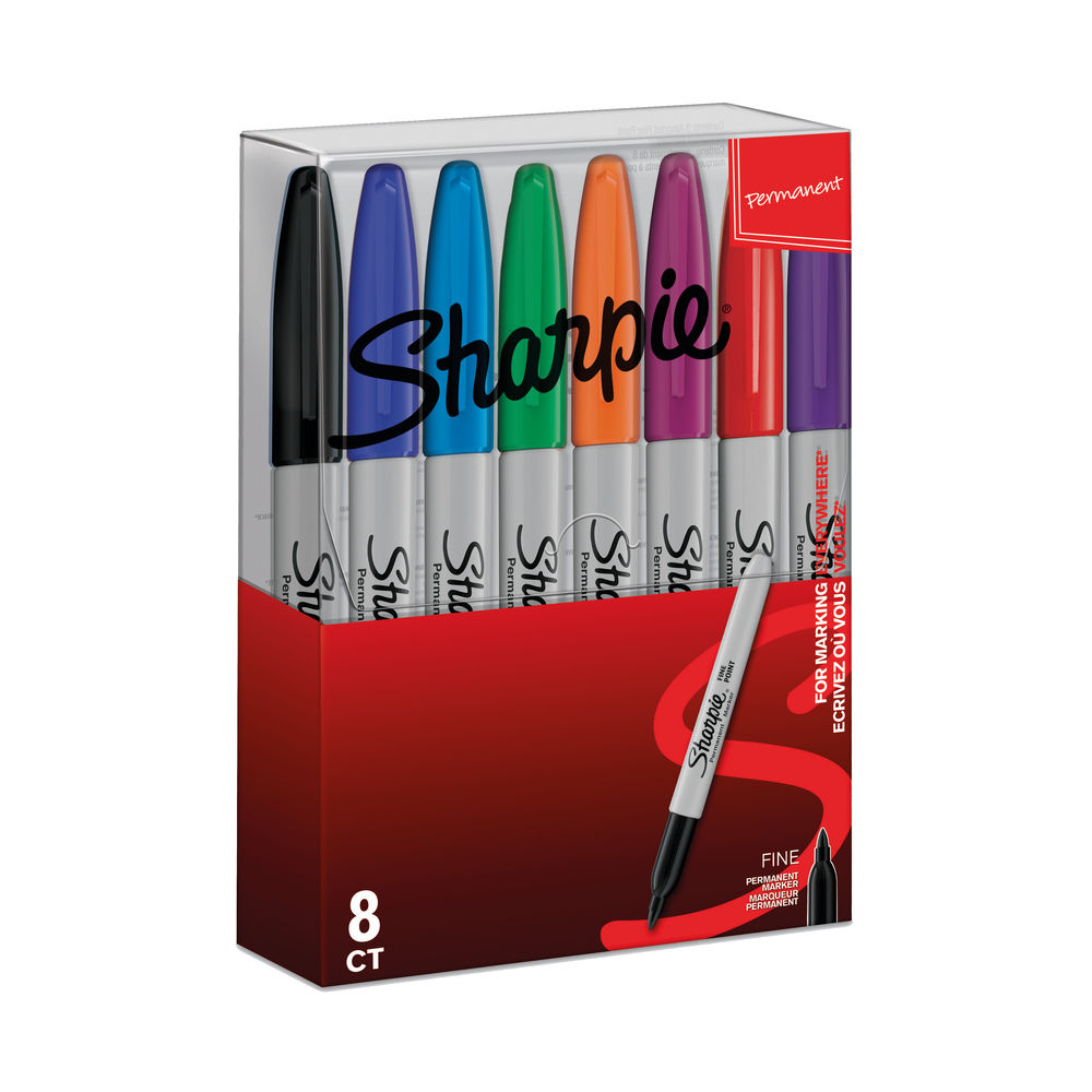 Sharpie Permanent Marker Fine Tip Assorted (Pack of 8) S0814660