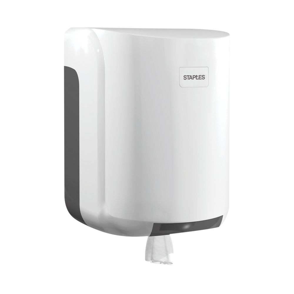 Staples Lockable Centrefeed Paper Roll Dispenser 310x220x220mm ABS White 8851248