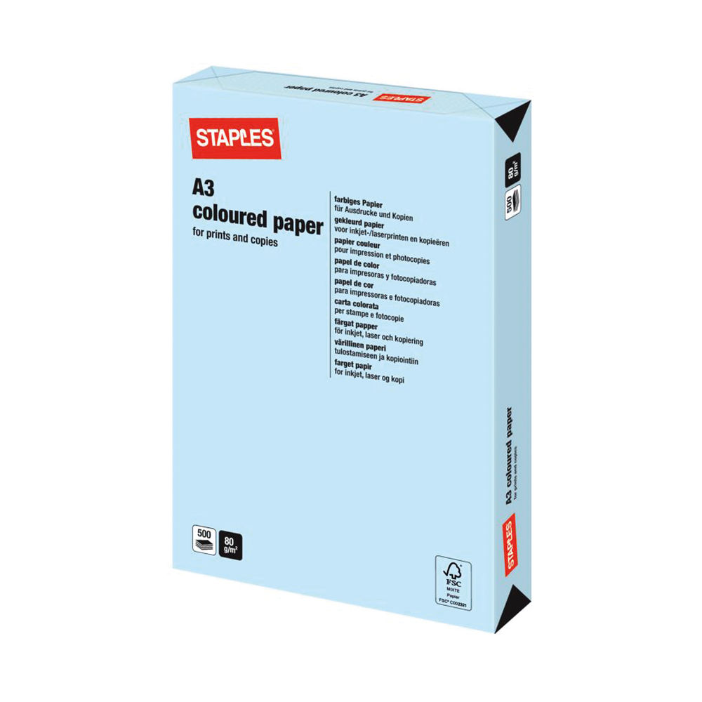 Staples Colour A3 Pastel Blue Paper 80gsm (Pack of 500) 7325549