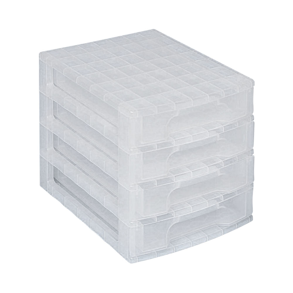 Really Useful Drawer Unit With 4 Drawers 4x5L Clear DTD4572