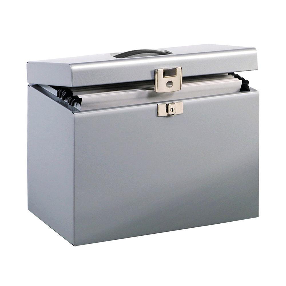 Metal Box File A4 Lockable 290 x 370 x 220mm Silver 040011