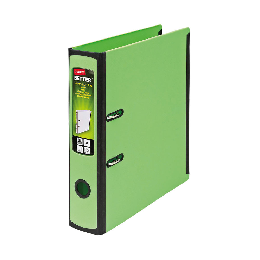 Staples Better Lever Arch File A4 75mm 2 Ring 316x291mm Capacity 560 Sheets Green 8850934
