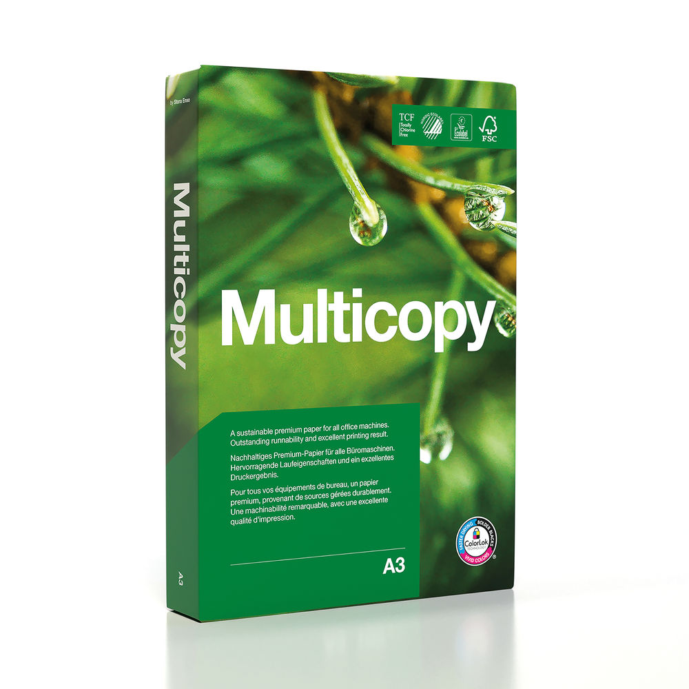 MultiCopy A3 White Colour Laser Paper 160gsm (Pack of 250) 172607