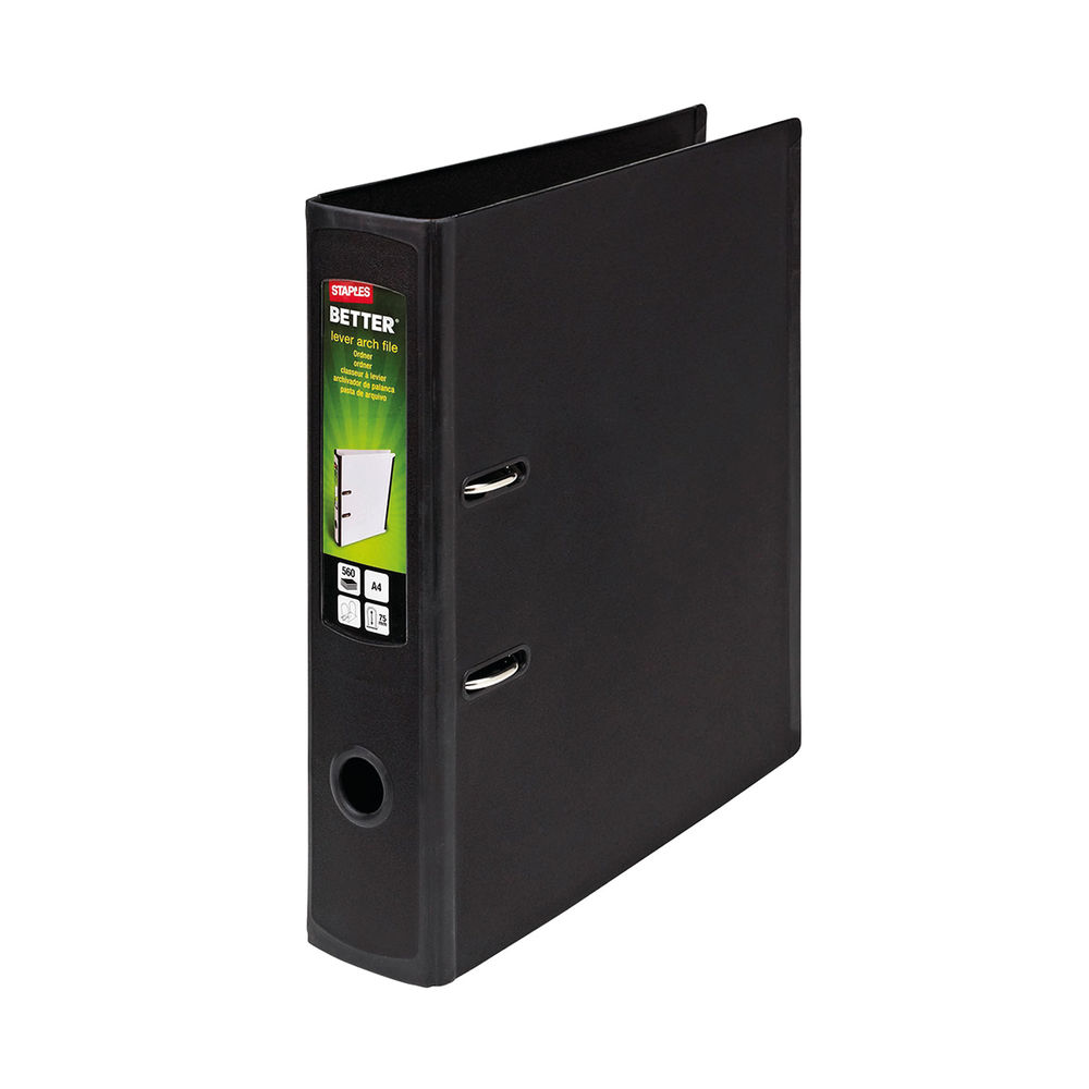 Staples Better Lever Arch File A4 75mm 2 Ring 316x291mm Capacity 560 Sheets Black 8850932