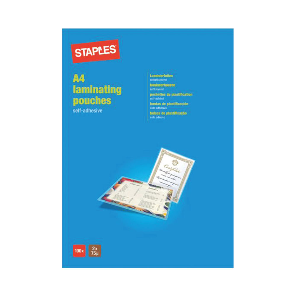 Staples A4 Laminating Pouches Self Adhesive 150 Micron (Pack of 100) 8016396