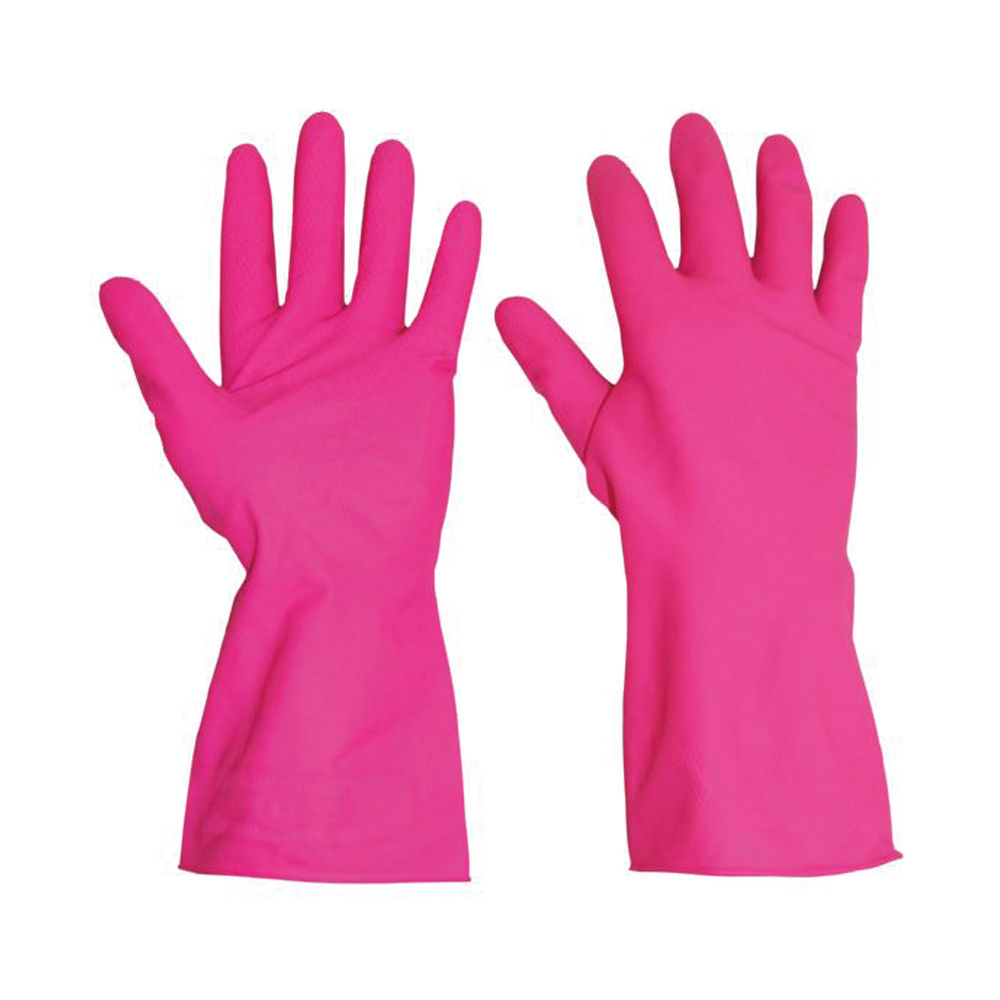 Rubber Gloves Medium Pink (Pack of 10) HHMWPM