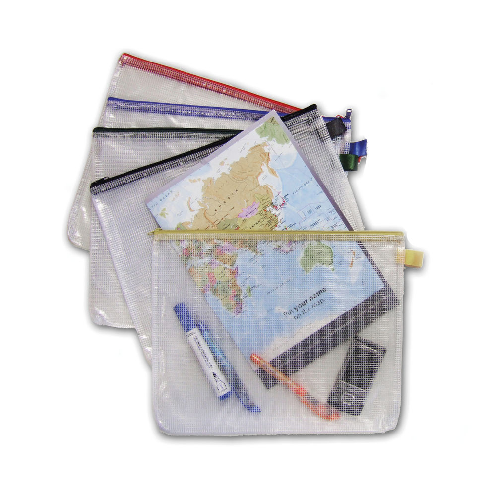 Mesh Bag A4 Assorted Coloured Zips (Pack of 5) PMBA4