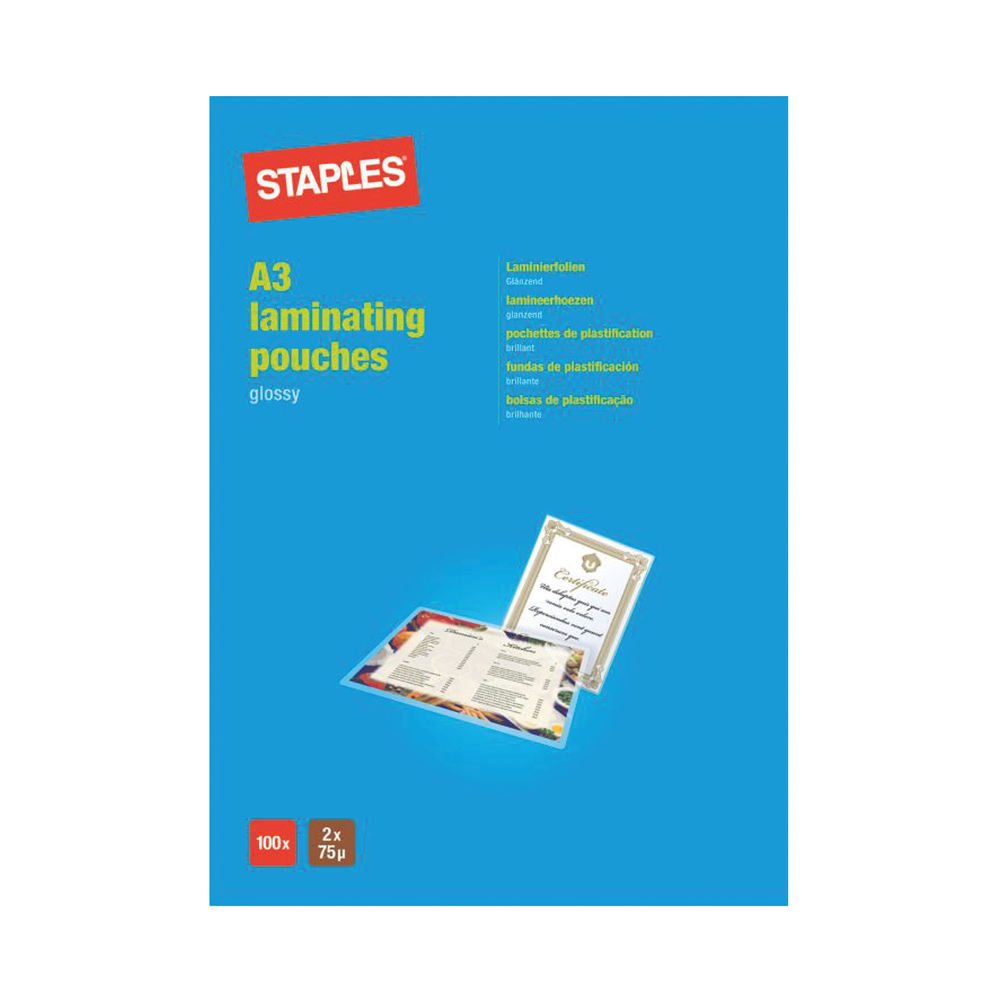 Staples A3 Laminating Pouches 2x75 Micron Sheets (Pack of 100) 7427944