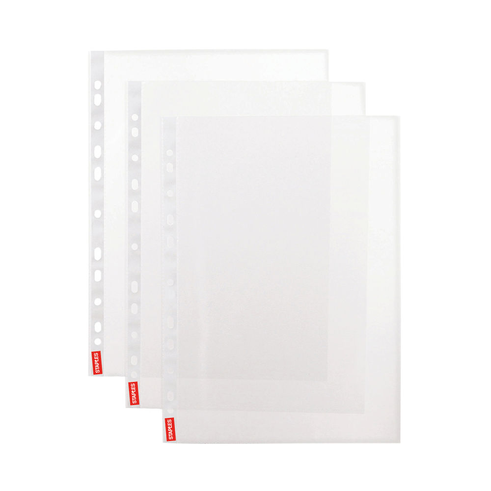 Simply Plastic White Strip A4 40 Micron Punched Pocket (Pack of 100) 100742054