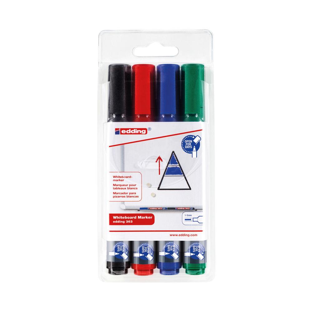 Edding 363 Whiteboard Marker Chisel Tip 1-5 mm Assorted (Pack of 4) 4-363-4