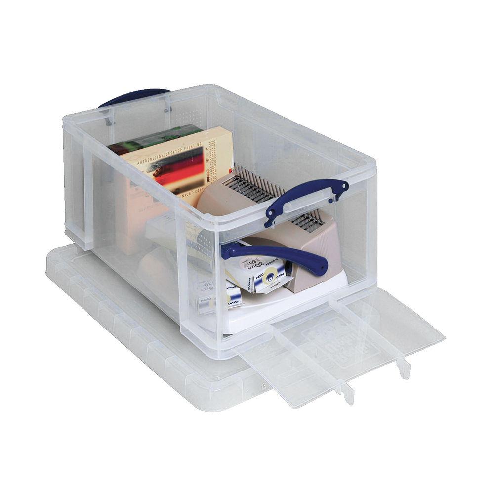 Really Useful 64L Plastic Storage Box 710 x 440 x 310mm Clear 64OFCCB