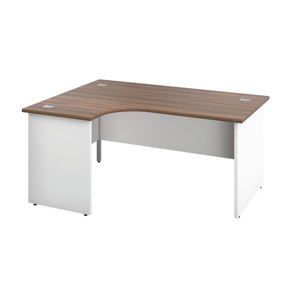 Jemini 1600mm Dark Walnut/White Left Hand Radial Panel End Desk