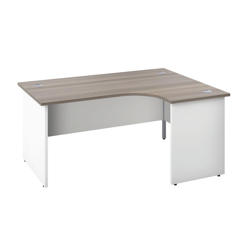 Jemini 1600mm Grey Oak/White Right Hand Radial Panel End Desk