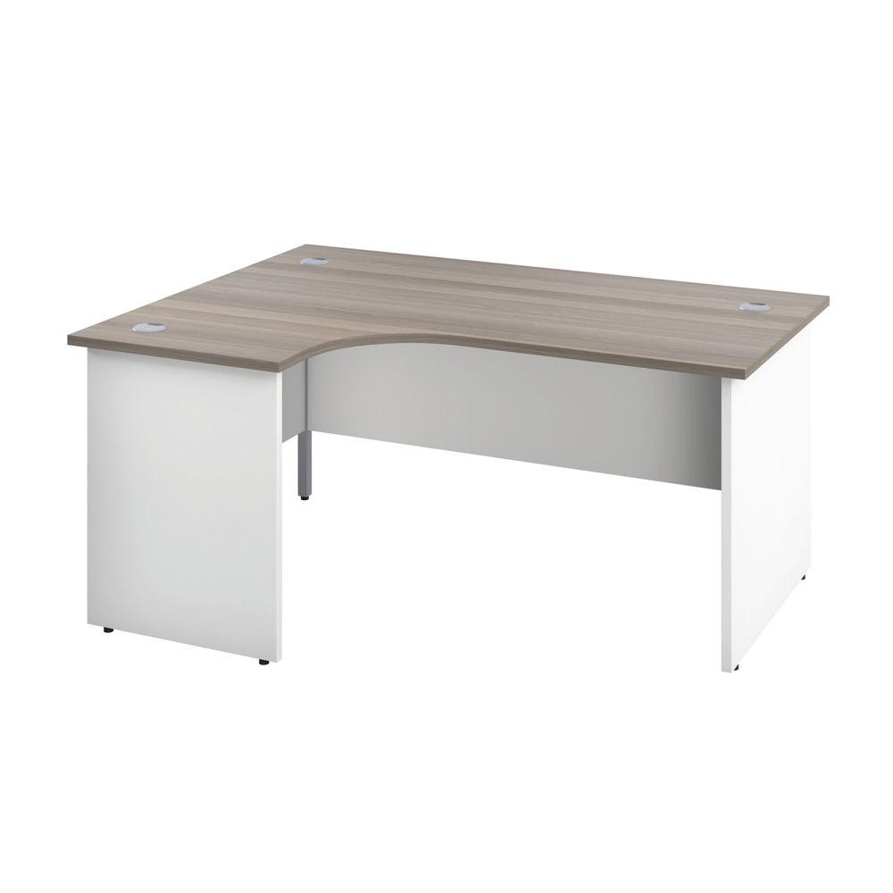 Jemini 1800mm Grey Oak/White Left Hand Radial Panel End Desk