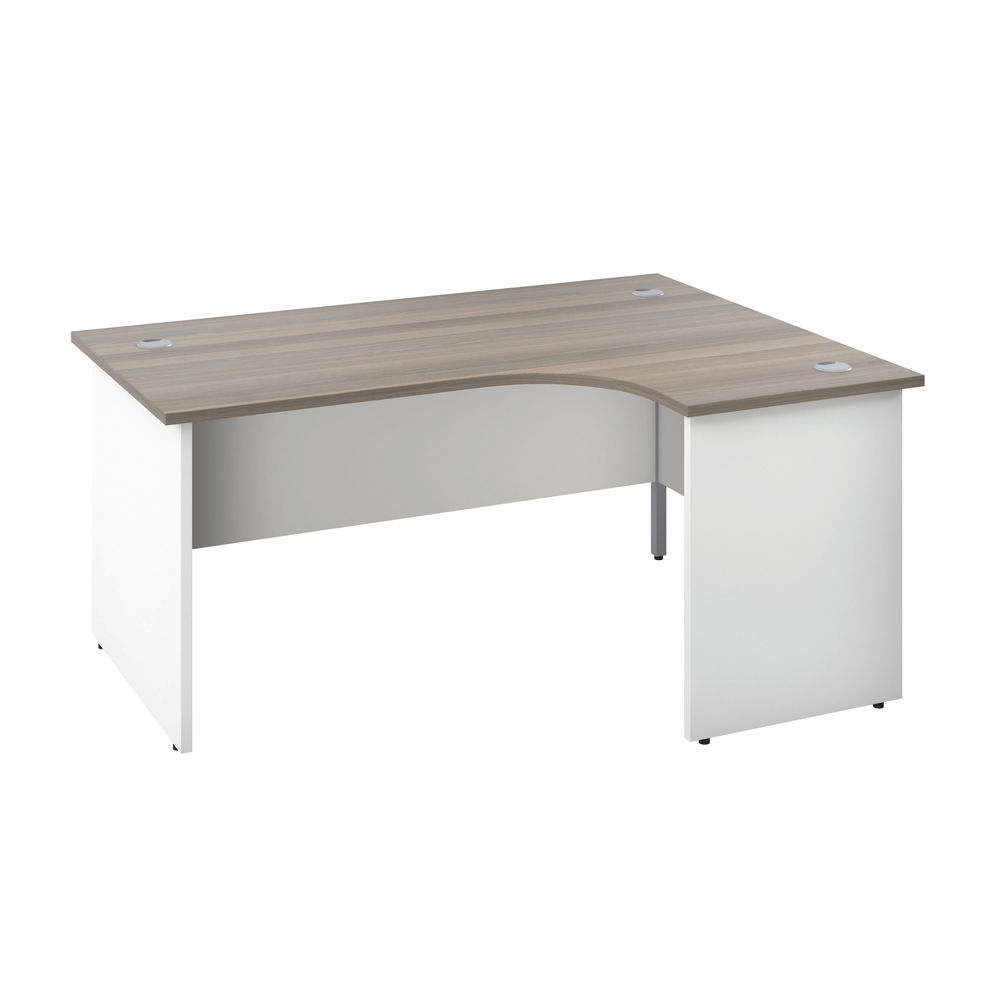 Jemini 1800mm Grey Oak/White Right Hand Radial Panel End Desk
