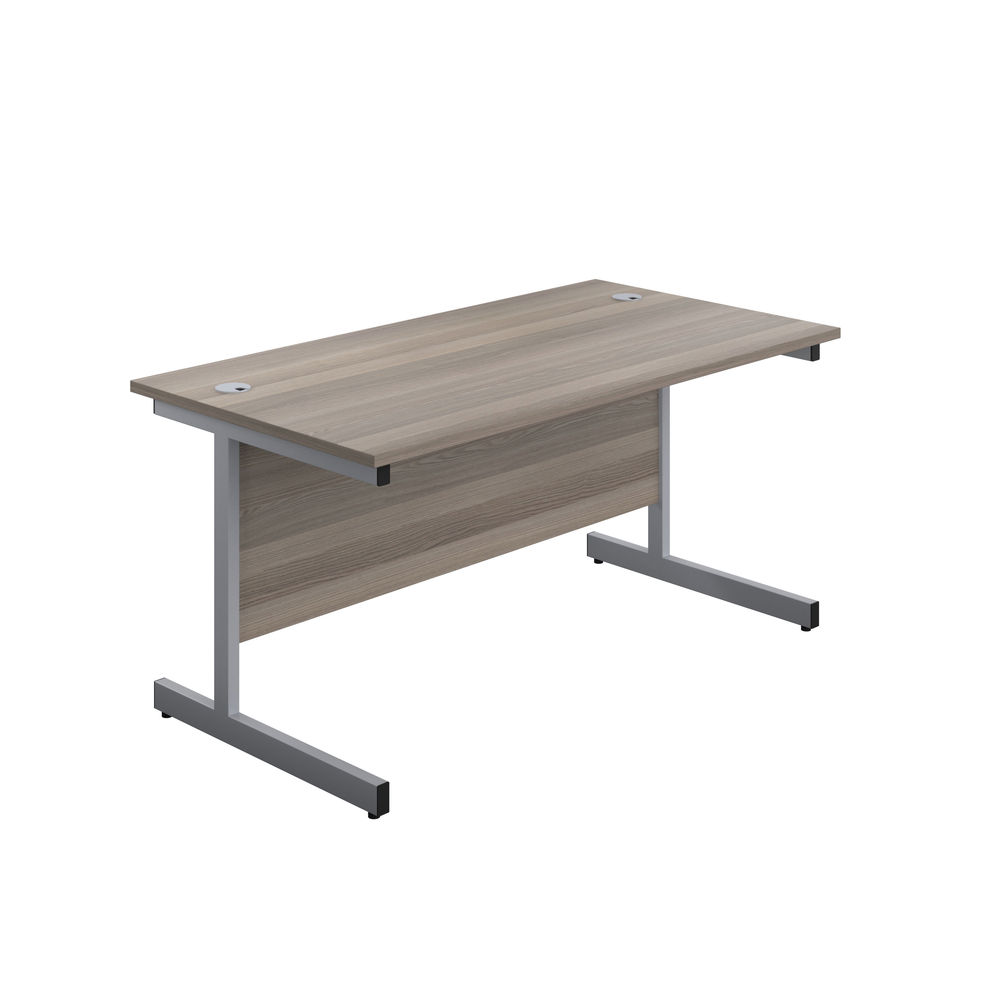 Jemini 800x600mm Grey Oak/Silver Single Rectangular Desk