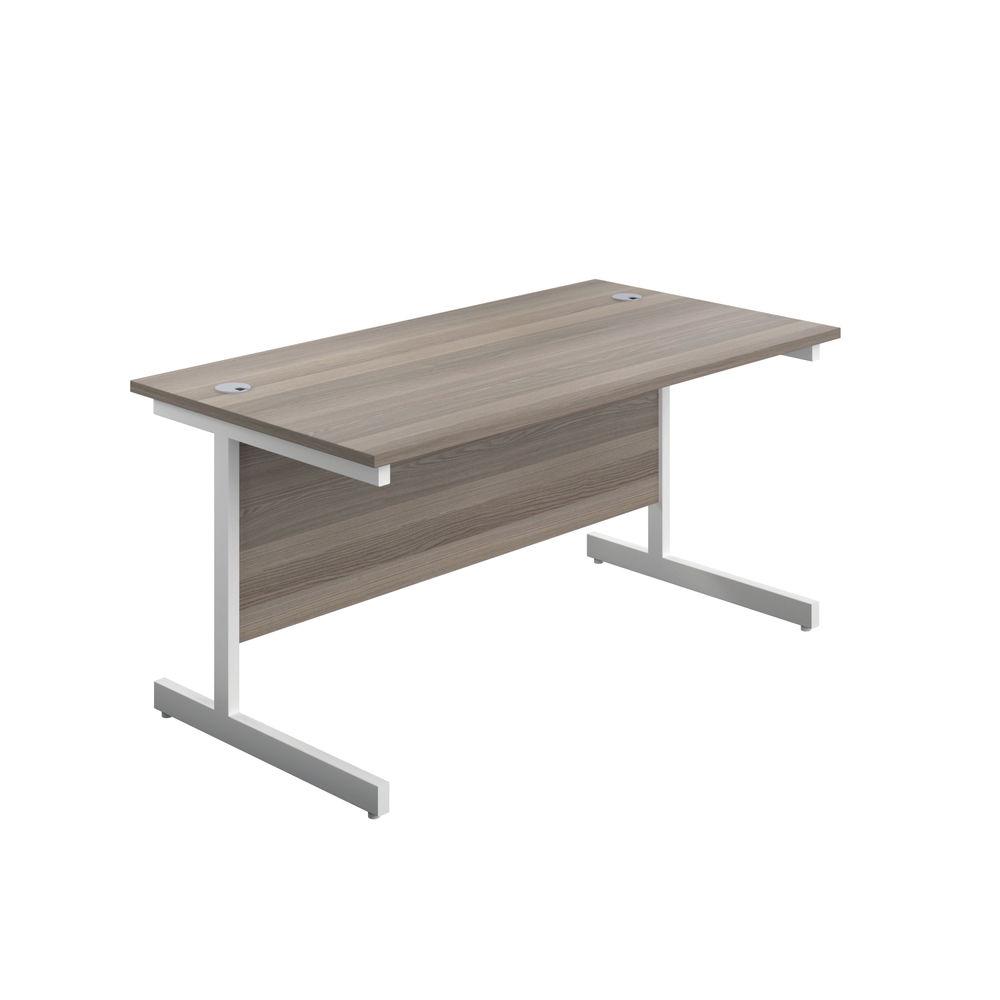 Jemini 800x600mm Grey Oak/White Single Rectangular Desk