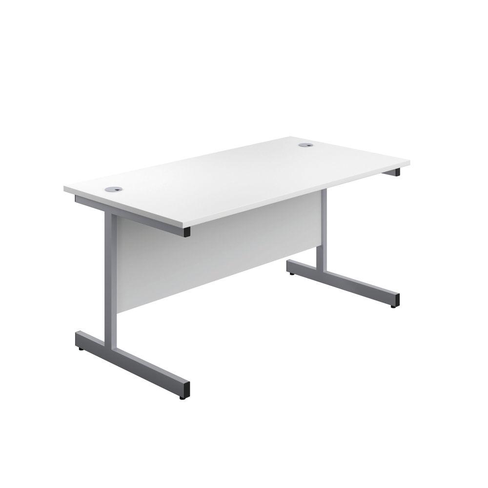 Jemini 1800x600mm White/Silver Single Rectangular Desk