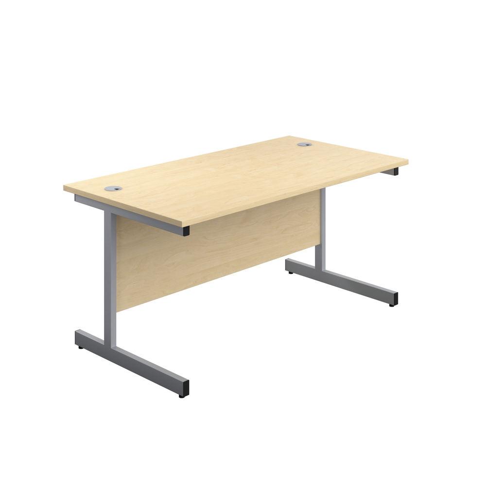 Jemini 1800x600mm Maple/Silver Single Rectangular Desk