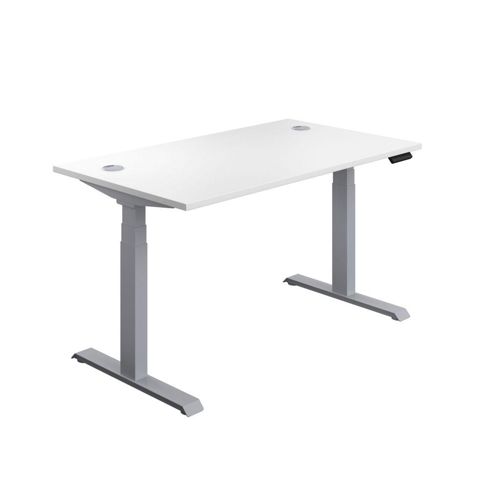 Jemini 1400mm White/Silver Sit Stand Desk