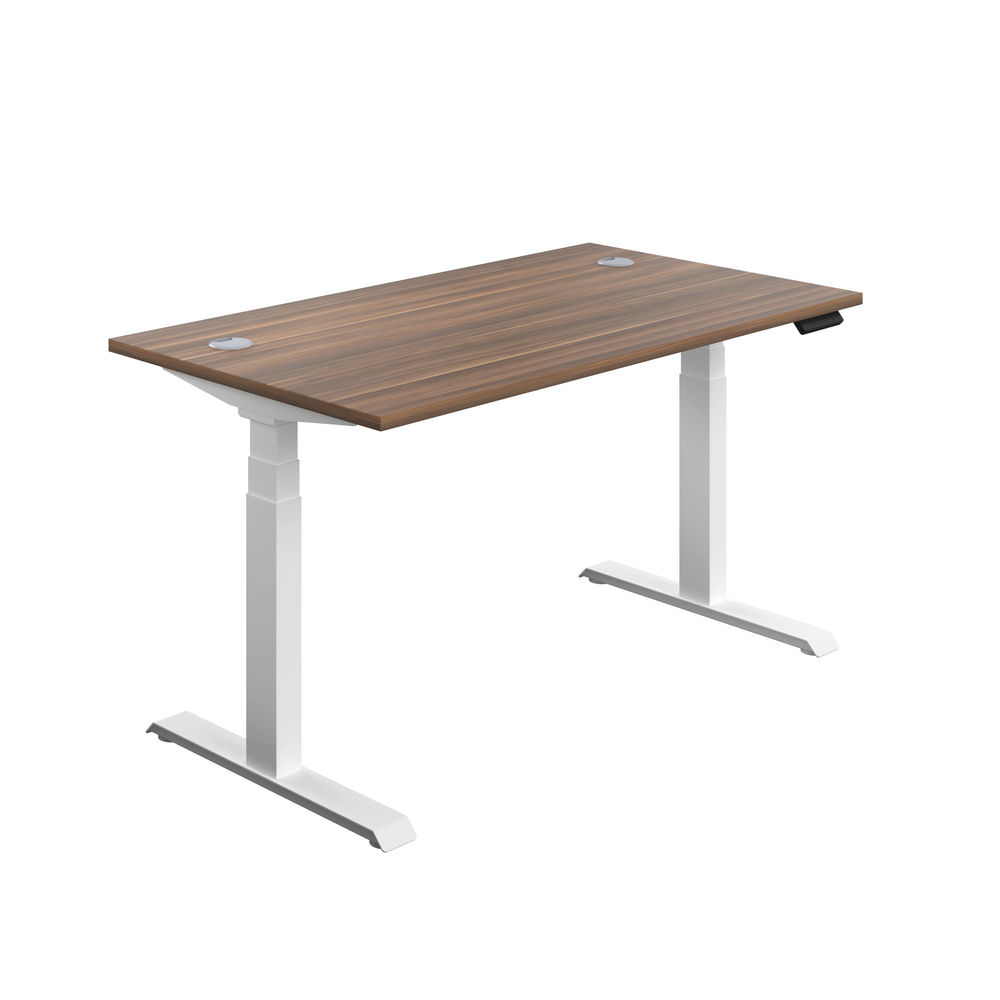 Jemini 1400mm Dark Walnut/White Sit Stand Desk