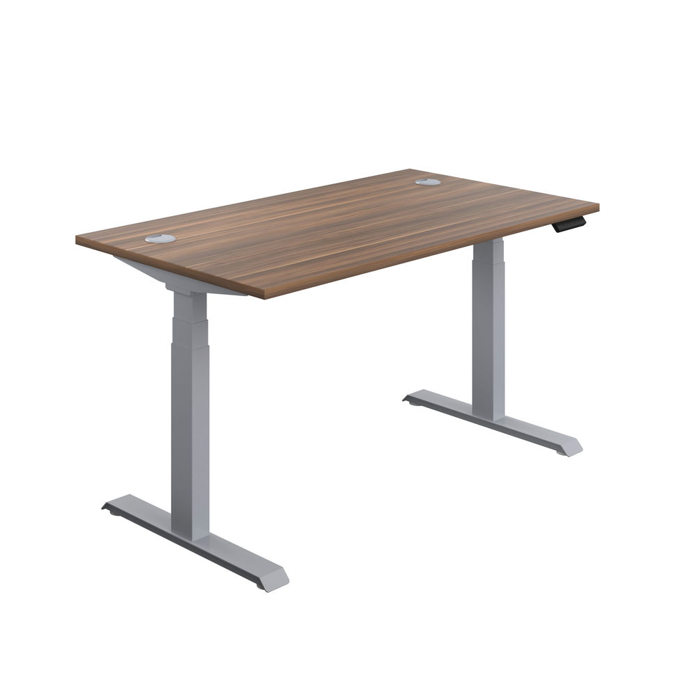 Jemini 1600mm Dark Walnut/Silver Sit Stand Desk
