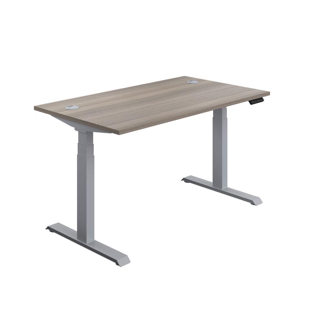 Jemini 1600mm Grey Oak/Silver Sit Stand Desk