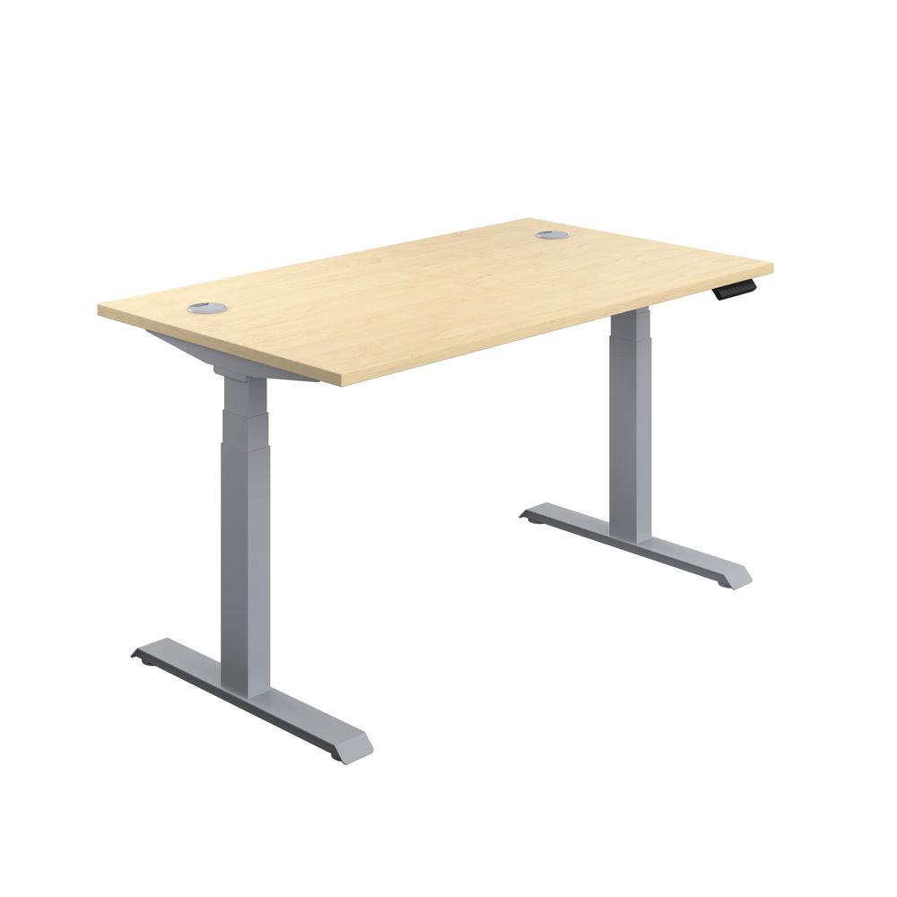 Jemini 1600mm Maple/Silver Sit Stand Desk