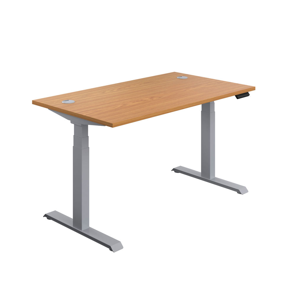 Jemini 1600mm Nova Oak/Silver Sit Stand Desk