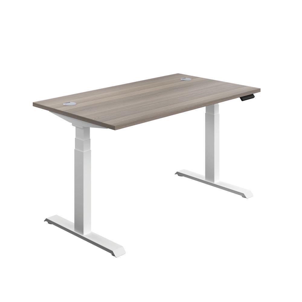 Jemini 1600mm Grey Oak/White Sit Stand Desk