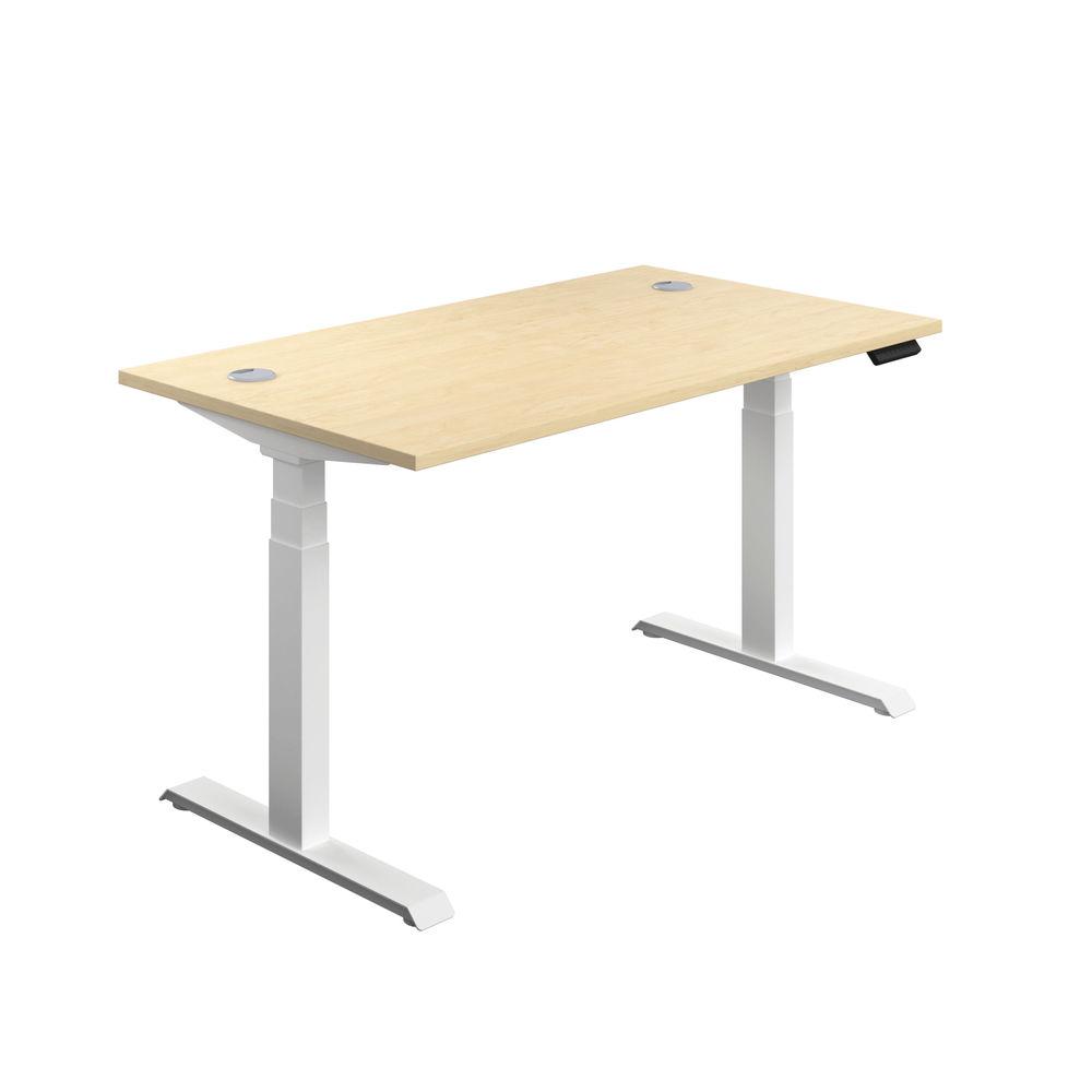 Jemini 1600mm Maple/White Sit Stand Desk