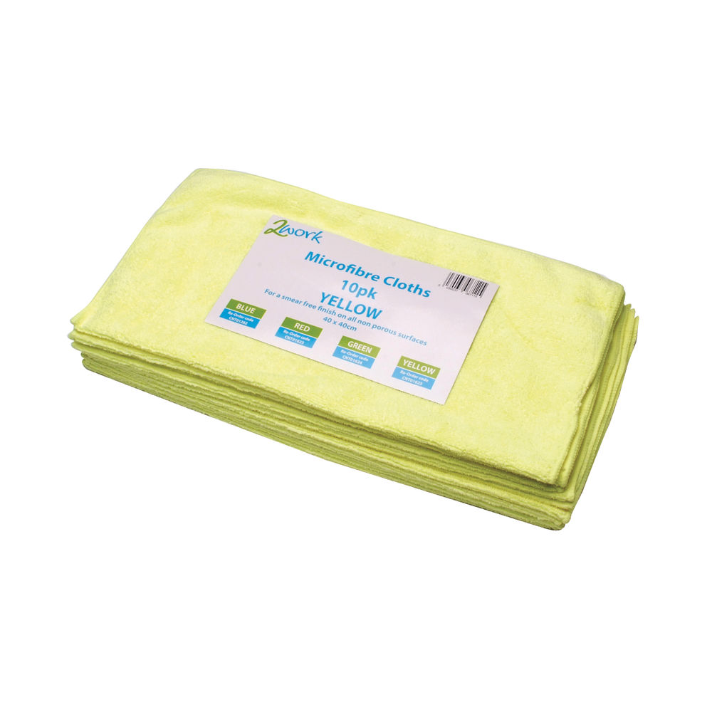 2Work Yellow 400x400mm Microfibre Cloth (Pack of 10) 101161YL
