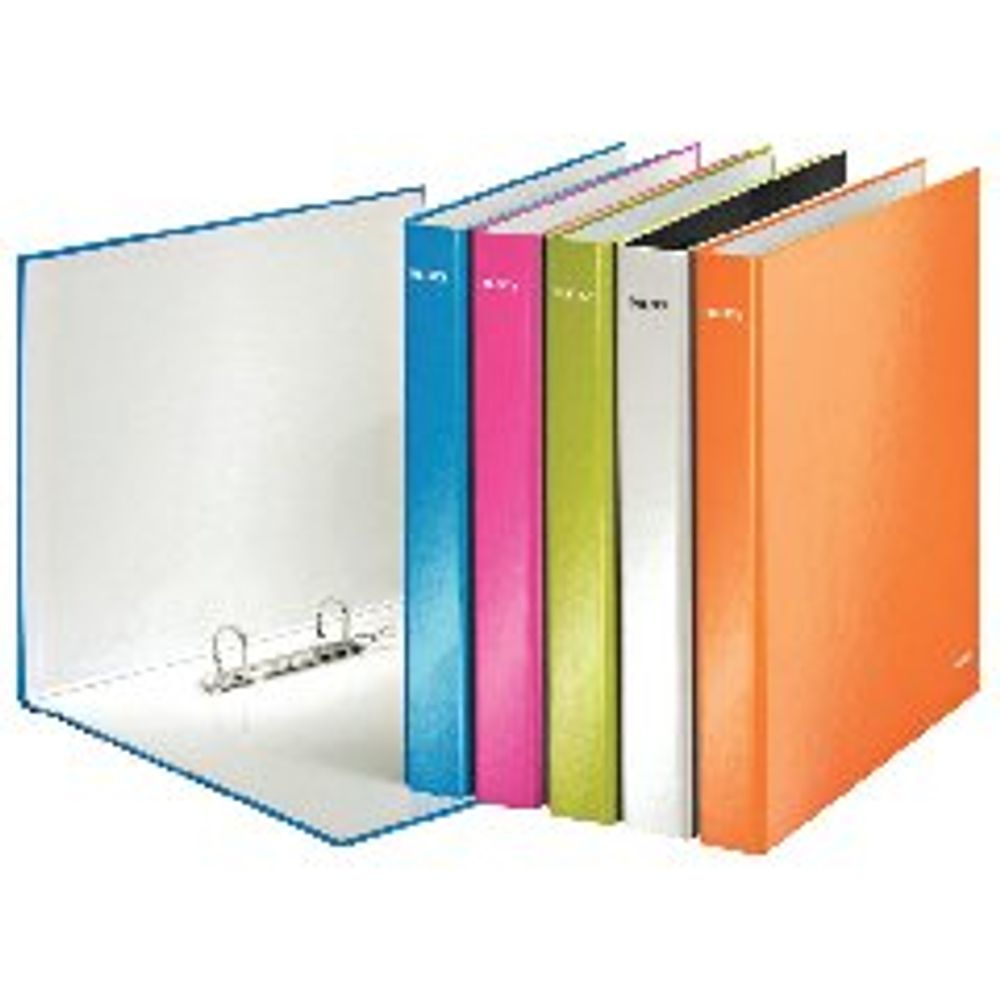 Leitz WOW Assorted Coloured A4 Maxi 2 D-Ring Binders 25mm, Pack of 10 - 42410044