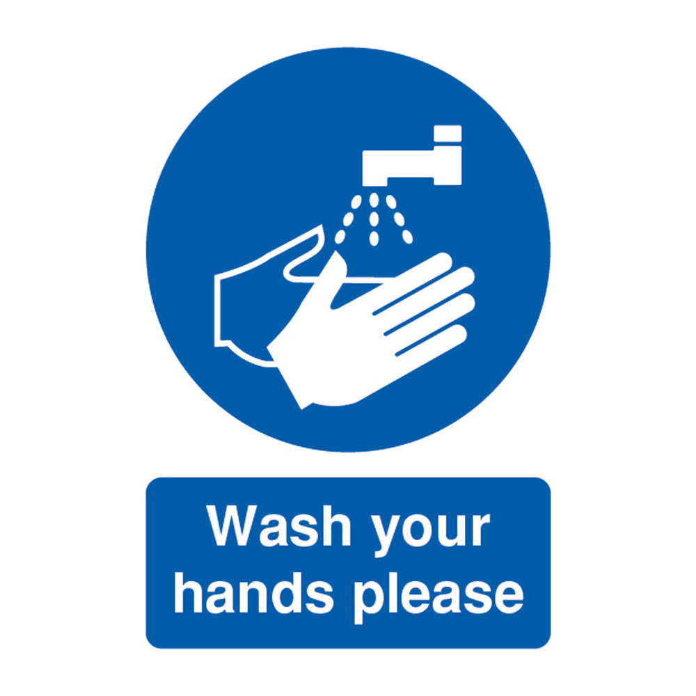 Safety Sign Wash Your Hands Please A5 PVC MD05851R