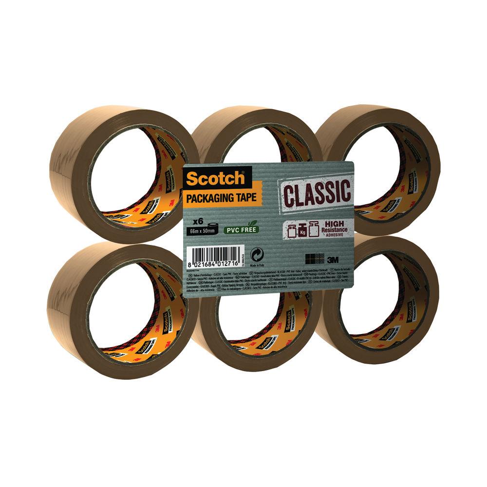 Scotch 50mm x 66m Buff Polypropylene Packaging Tape, Pack of 6 - C5066SF6