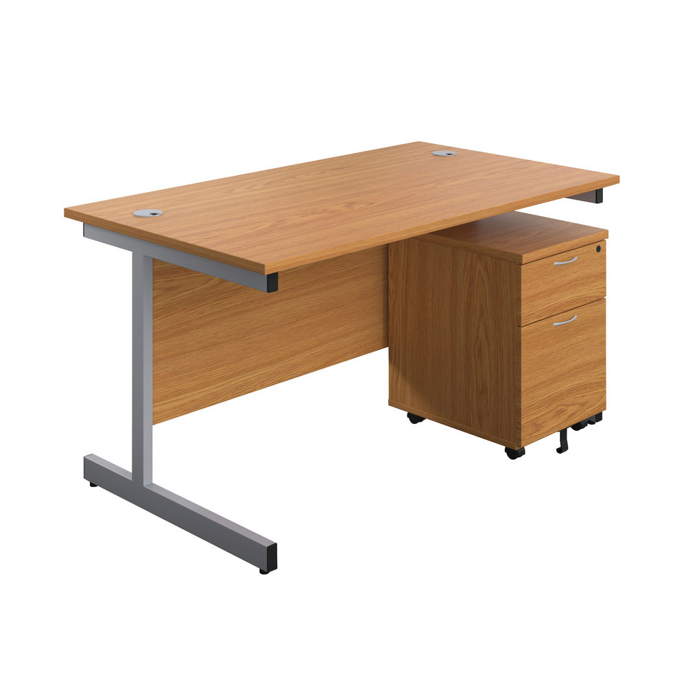 First 1600mm Nova Oak/Silver 2 Drawer Pedestal Single Desk