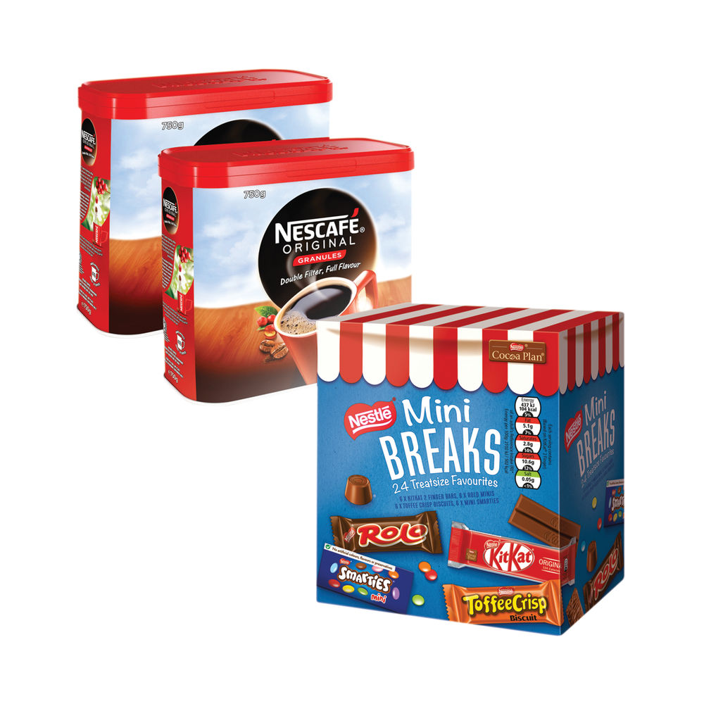 Nescafe Original 2x750g FOC Mini Breaks Mixed Selection (Pack of 24) NL819841