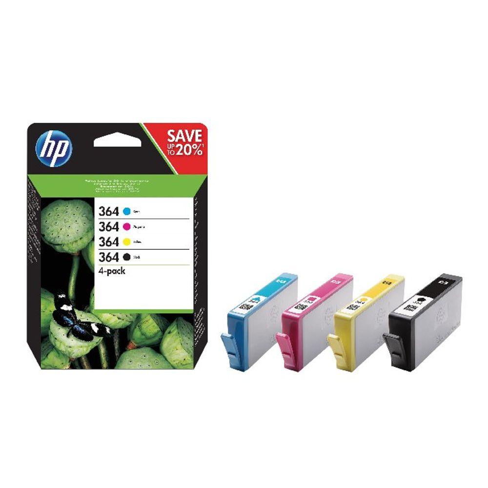 HP 364 Black and Colour Combo Ink Cartridge 4 Pack | N9J73AE