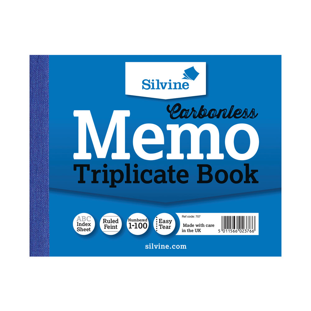 Silvine Carbonless Triplicate Memo Ruled Book, 100 Pages - Pack of 5 - SV42376