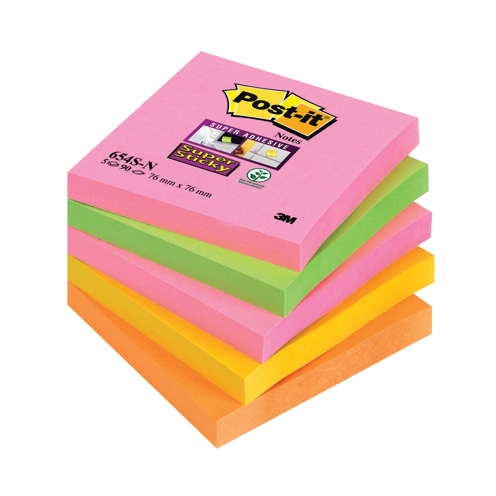 Post-it 76 x 76mm Cape Town Super Sticky Notes, Pack of 5 | 654-SN