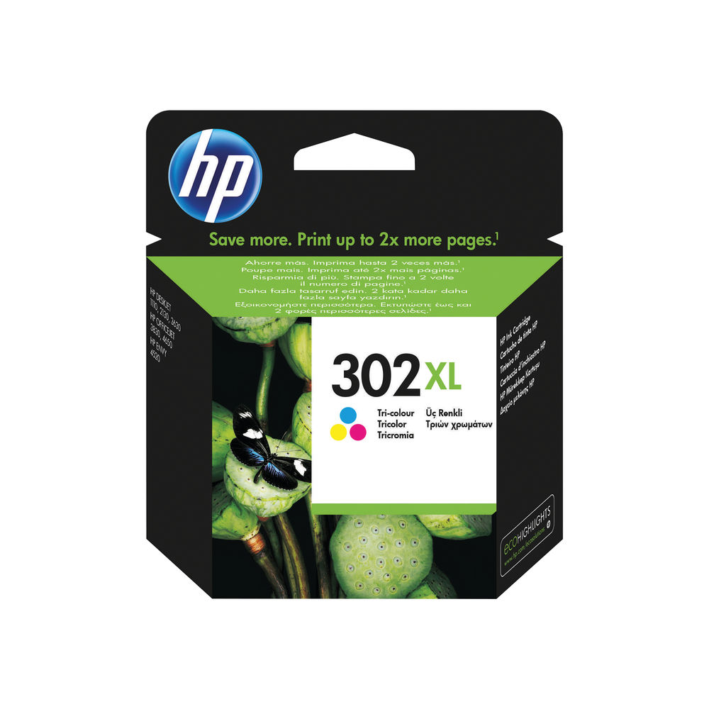 HP 302XL Cyan/Magenta/Yellow Ink Cartridge F6U67AE