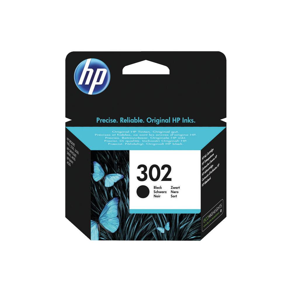 HP 302 Black Ink Cartridge (Standard Yield, 190 Page Capacity) F6U66AE
