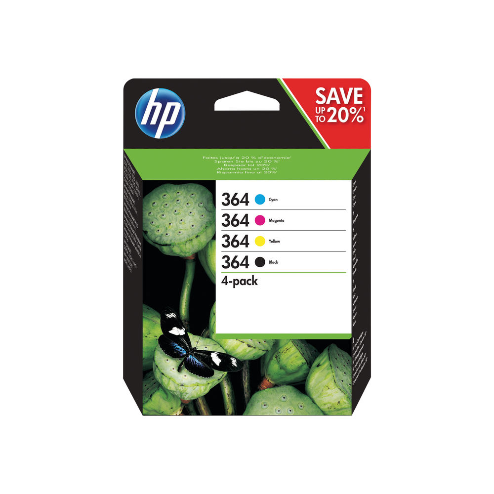HP 364 Cyan/Magenta/Yellow/Black Ink Cartridges (Pack of 4) N9J73AE