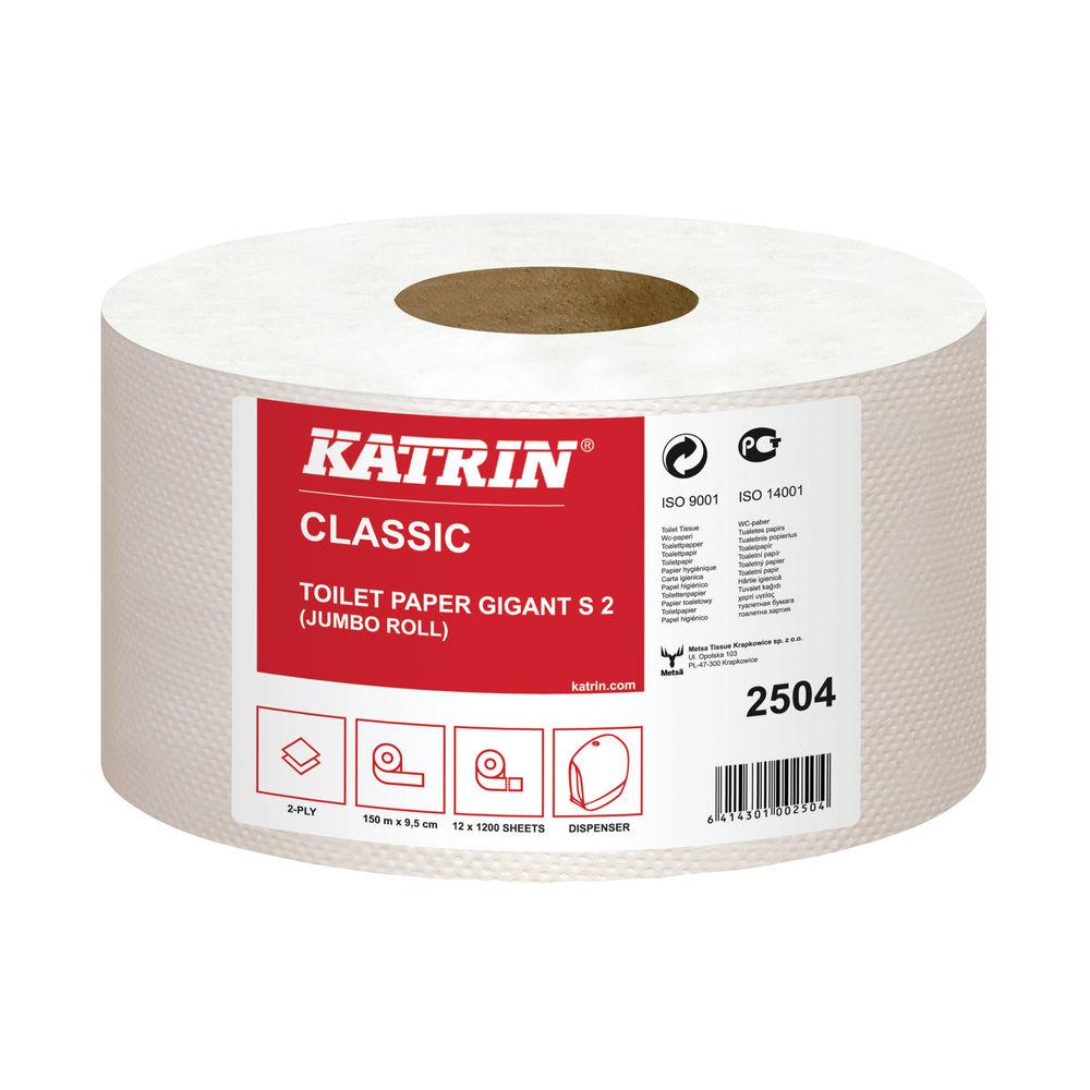 Katrin White 2-Ply Mini Jumbo Toilet Rolls, Pack of 12 - 2504