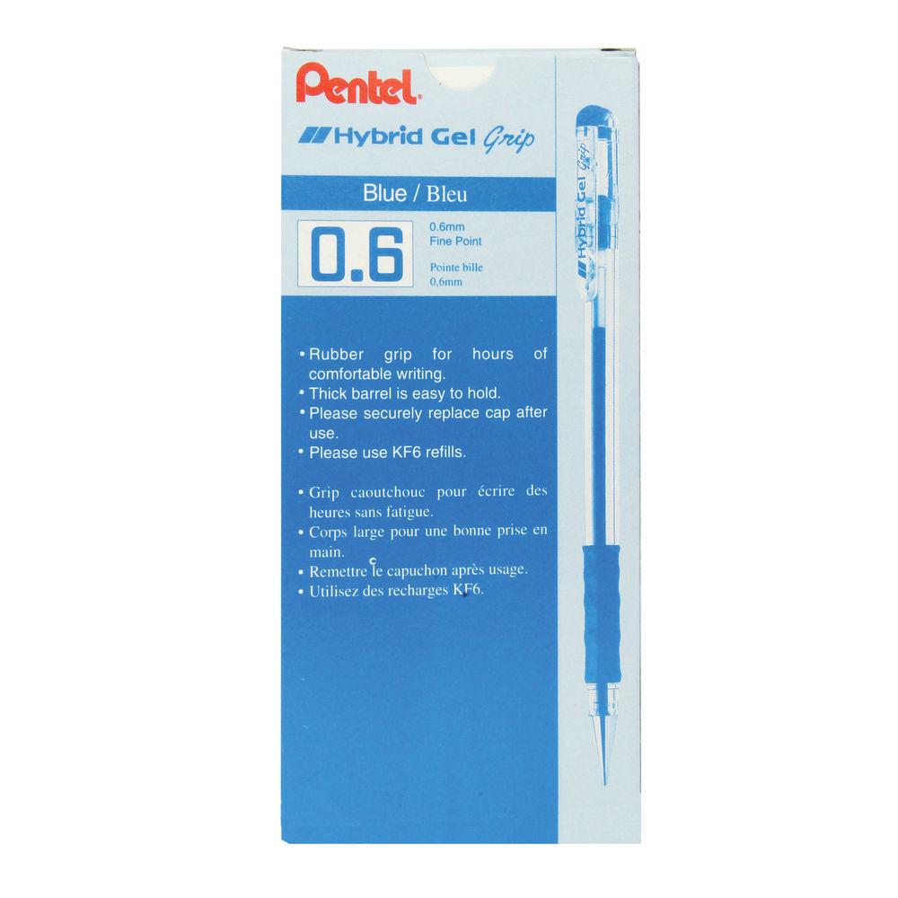 Pentel Hybrid Grip Blue Gel Pens, Pack of 12 - K116E-C
